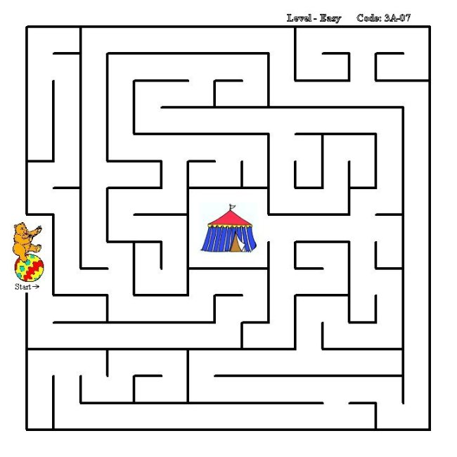 Learning Years Simple Maze Activity Sheet Circus Bear