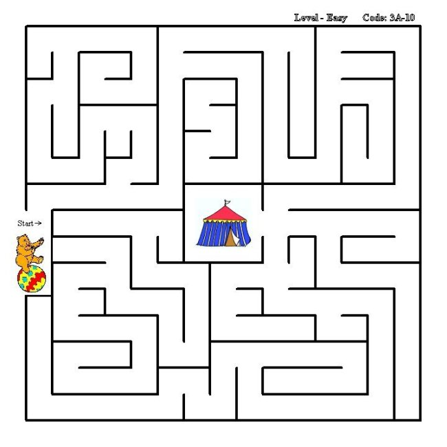 Learning Years: Simple Maze Activity Sheet : Circus Bear